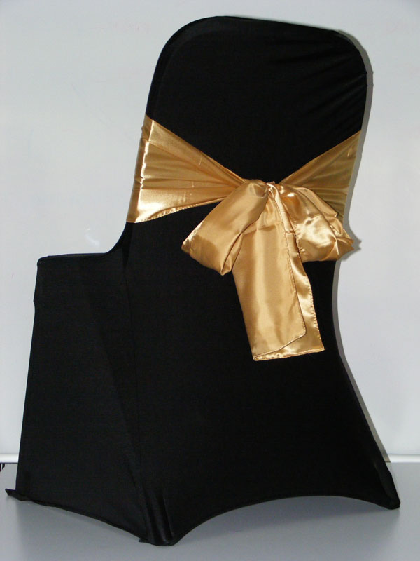 Polyester Chair Sashes Wholesale Cover Chair Sashe Gold with Black