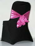 Black Chair Cover - Hot Pink Sash