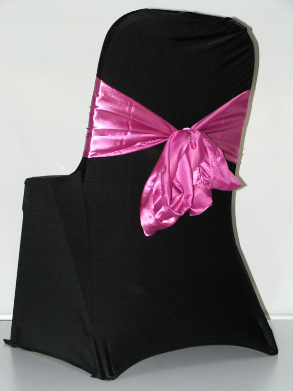 Black Chair Covers With Coloured Sashes