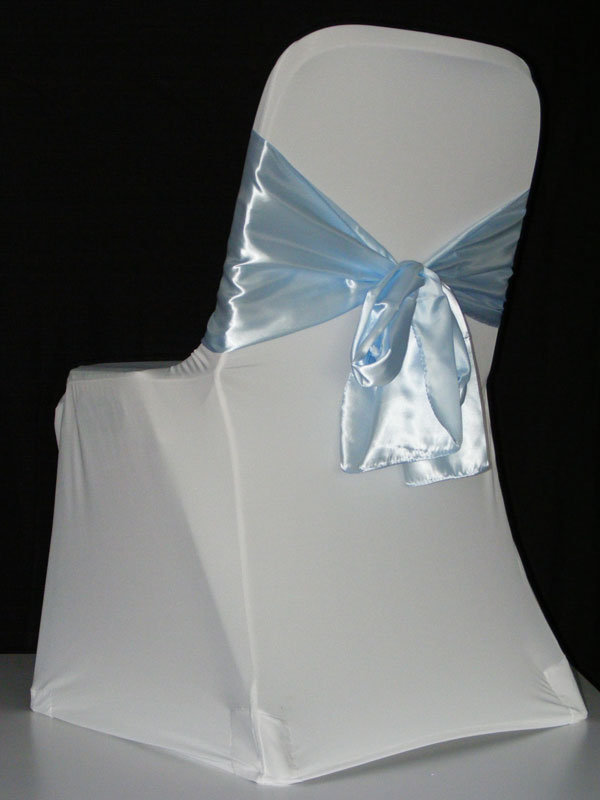 White Chair Covers with Coloured Sashes
